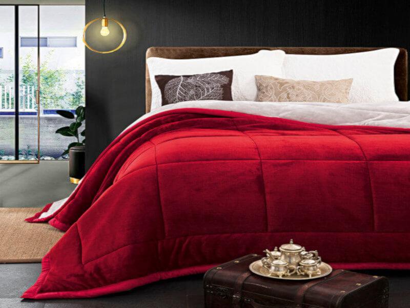 38d005d1b71 Παπλώματα: Πάπλωμα Υπέρδιπλο Κόκκινο Βελούδινο Supersoft Beauty Home ...